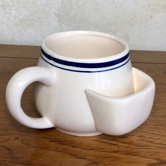 Vintage cobalt/white potbelly cup w/ tea bag rest